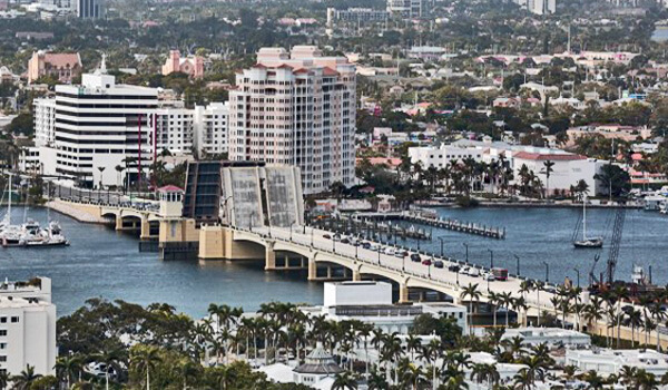 Flagler Bridge with drawbridge up Aerial