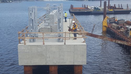 Lift span foundation for Southern Blvd. Bridge