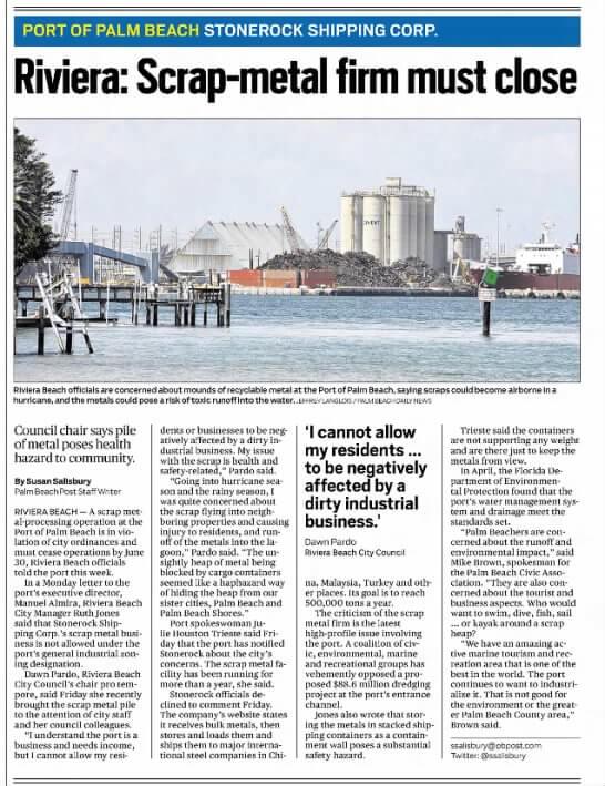 Port of Palm Beach Scrap Pile Story - PB Post