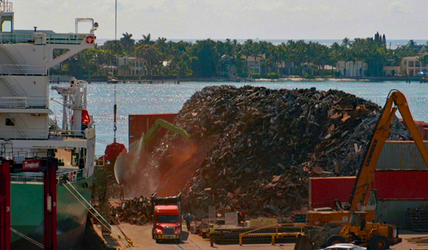 Port of Palm Beach scrap metal pile 6-6-19
