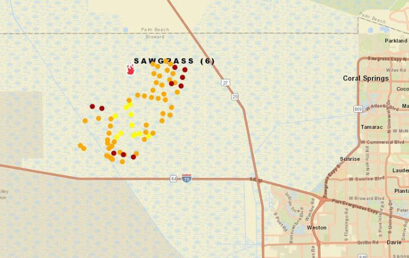 Sawgrass Fire Map in the Everglades