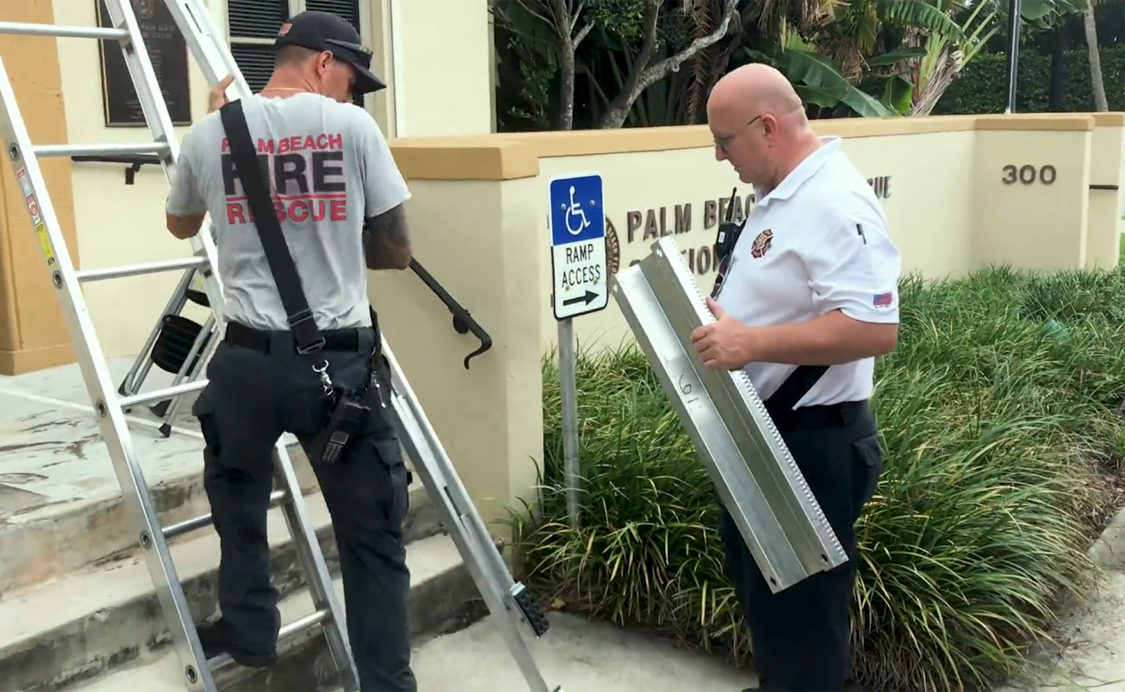 North Fire Station putting up shutters for Hurricane Dorian