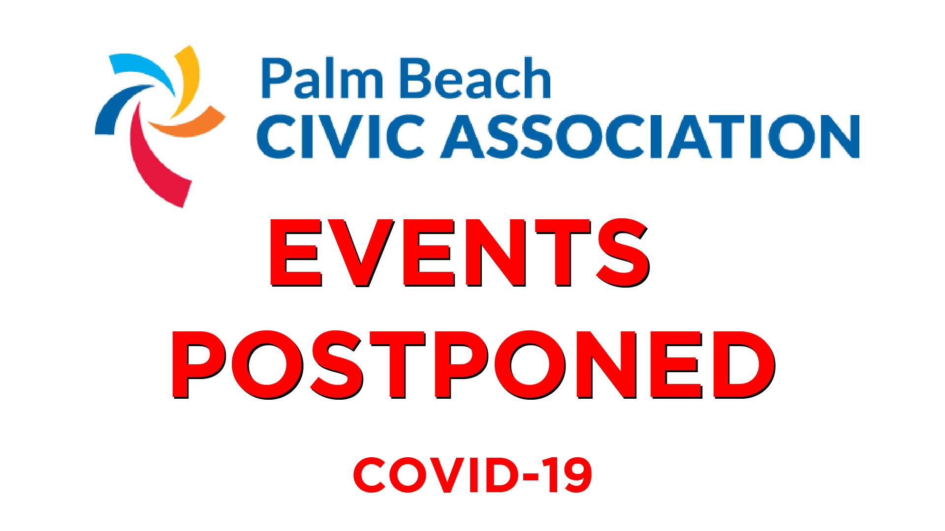 Palm Beach Civic Association Events postponed COVID-19
