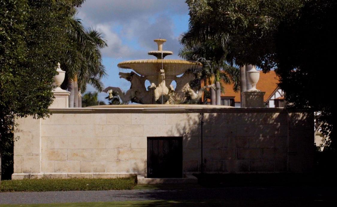 backside of Mizner Park Fountain