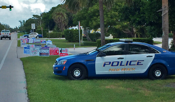 Police car at polling location