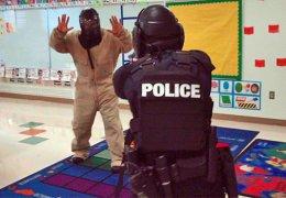 Police training -active shooter at gunpoint