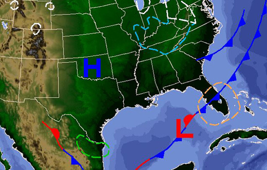 Tuesday's weather map. Cooler temps on the way!