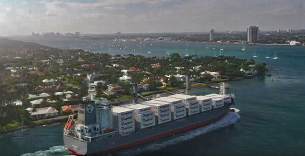 Tropic Hope arrives through the Lake Worth (Palm Beach) Inlet enroute to the Port of Palm Beach